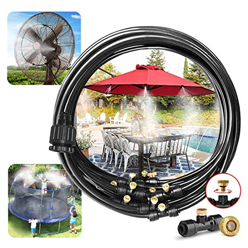 Landgarden Outdoor Misting Cooling System,33ft Misting Line,11 Brass Mist Nozzles for Patio Garden Greenhouse
