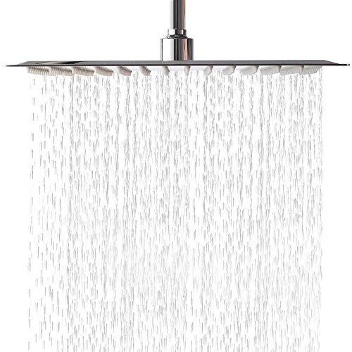 Alcachofa de ducha de lluvia de 30 cm Oupukle, cuadrada, ultrafina, tecnología de aire, de acero inoxidable pulido, efecto espejo con boquillas antical