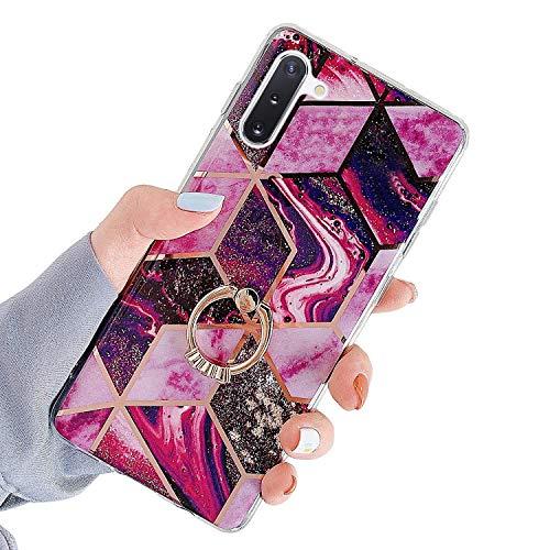 Herbests Kompatibel mit Samsung Galaxy Note 10 Hülle Handyhülle Glänzend Glitzer Bling Marmor Muster Silikon Schutzhülle Soft Stoßfest Handytasche mit Diamant Ring Halter Ständer,Rot Lila