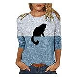 WGNNAA Winter Frühling Langarm Oberteile - Damen Langarmshirt mit Katzenmotiv - Pullover Tierdruck Drucken Patchwork T-Shirt - Casual Sweatshirt Tops Loose Rundhals Bluse Pulli (Blau-1, 2XL)