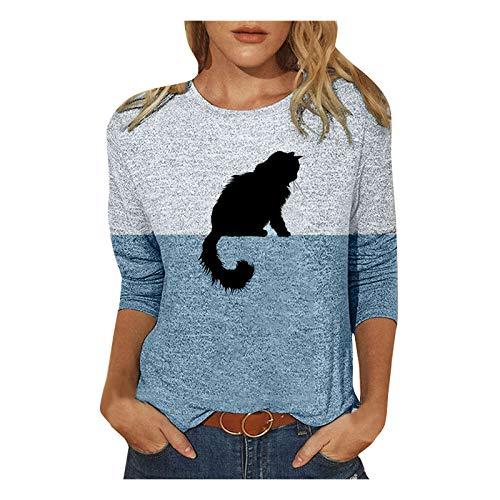 Chejarity Camiseta de manga larga para mujer, camiseta de manga larga con diseño de gato, sudadera con estampado de animales, camiseta con estampado de gato, informal, cuello redondo, azul, XL