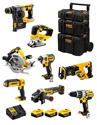 DeWALT Kit DWK805 (DCD996 + DCH273 + DCG405 + DCF887 + DCS334 + DCS367 + DCS570 + DCL050 + 3 Baterías de 5,0 Ah + Cargador + Carro 3en1)