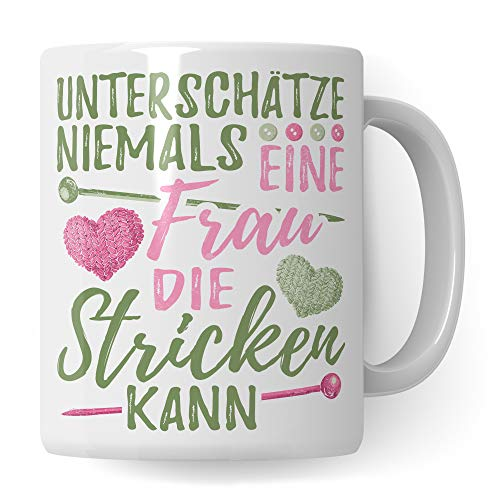 Tasse Stricken Spruch - Strickerin Geschenk Kaffeetasse Häkeln Geschenkidee - Stricken Nadeln Becher