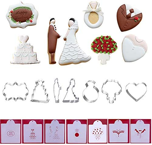 Wedding Cookie Cutters with Matching Cookie Stencils Set of 14 7Pcs Cookie Cutter and 7Pcs Stencils product image