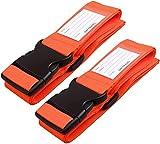 Correas para Equipaje, Cinturones de la Maleta Ajustables de Equipaje de Viaje Cinturones, Accesorios de Viaje Embalaje con Ranura para Etiquetas de identificación (2 - Naranja)
