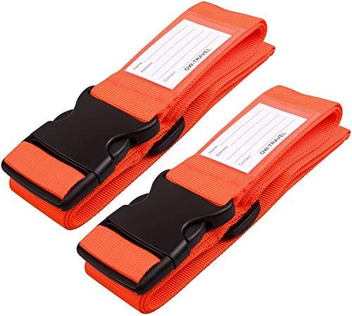 Cinghia Valigia. Cinghie per valigie con cinghie per bagagli pesanti - Cintura Valigia personalizzata per identificare la valigia - Accessori Viaggio Utili di Qualità per le Valigie Arancia, 2