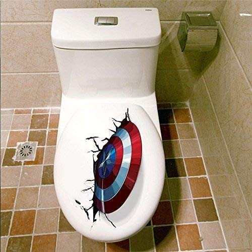 Calcomanía 3D de vinilo para inodoro con escudo del Capitán América también para uso en paredes/coches/tabletas