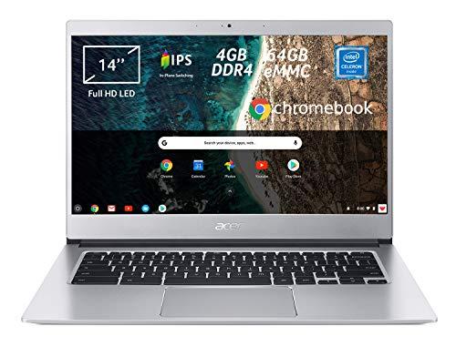 Acer Chromebook 514 CB514-1H-C0N4 Notebook Portatile, Intel Celeron Quad Core N3450, RAM 4 GB DDR4, eMMC 64 GB, Display 14  IPS Full HD LED LCD, Intel HD 500, PC Portatile, Google Chrome, Silver