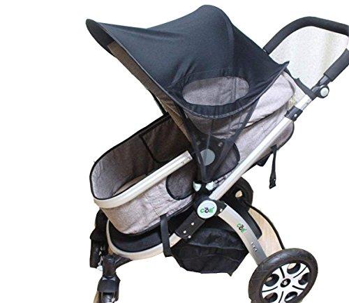 Parasol de Poussette Protection UV Canopy Poussette Capote avec Maille Coupe-vent Respirant Protection solaire universel Baby Pare-Soleil pour poussette Anti-Sable