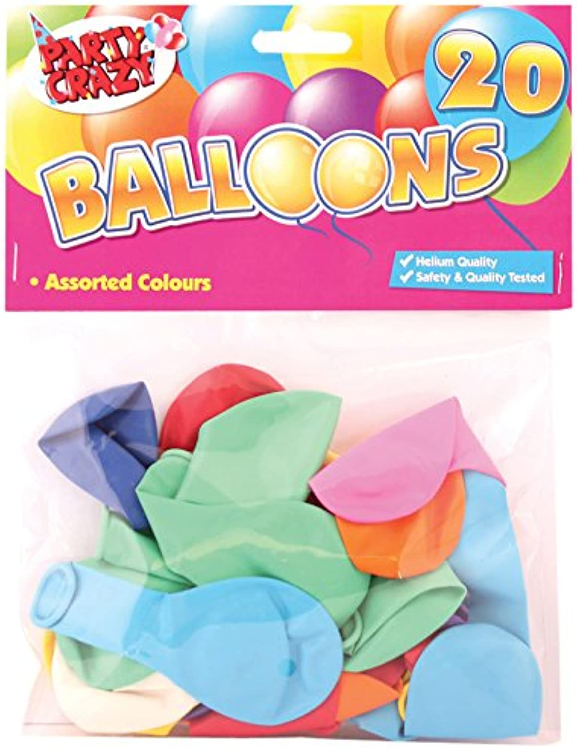 Tallon Party Crazy Pack Of 20 Party Balloons Assorted Shapes & Colours