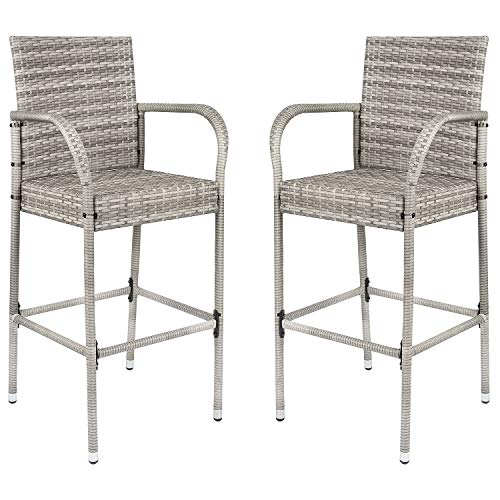 Homall Patio Bar Stools Wicker Barstools Indoor Outdoor Bar Stool Patio Furniture with Footrest and Armrest for Garden Pool Lawn Backyard Set of 2 (Gray) chair gaming gray