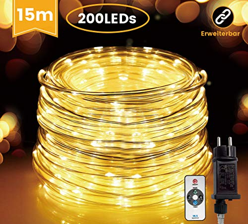 HAUSPROFI 15M 200 LEDS Lichterschlauch mit Fernbedienung,Lichterkette, 8 Modi und Helligkeit dimmbar, Strombetrieben,Wasserdicht, Ideal für Aussen, Weihnachtsbeleuchtung, Deko, Party, Feier, Hochzeit