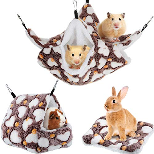 3 Pieces Small Pet Cage Hammock Set Include Double-Layer Sugar Glider Swinging Bed Hanging Rat House Cage and Hamster Warm Bed Mat for Rat Parrot Ferret Squirrel Hamster Rat Playing Sleeping