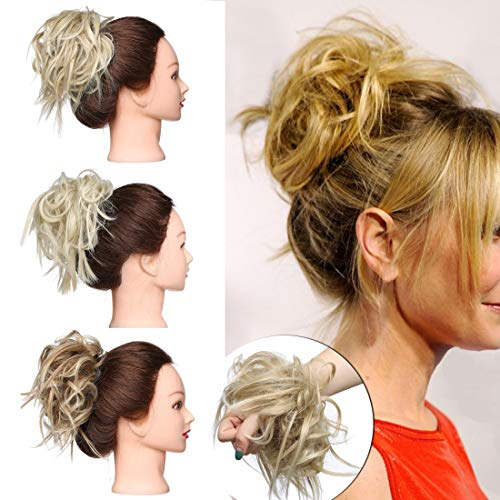 SEGO Tousled Updo Messy Bun Hair Piece Scrunchies Synthetic Wavy Bun Extensions Rubber Band Elastic Scrunchie Chignon Instant Ponytail Hairpiece for Women -#24T613 Natural Blonde