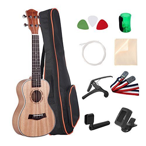 Umiee Concert Ukulele Mahogany, 23 inch Ukulele Starter Kits with Tuner/Strap/Carry Bag/Picks/Aquila String/Capo/Grover/Percussion Musical Egg/Clear...