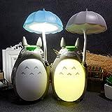 Set di 2 lampade da Tavolo Anime Totoro Nightlight Studio Ghibli con Ricarica USB per Bambini Bambini Ragazze Natale o Altre Parti