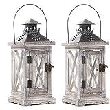 TOPSALE Portacandele Lanterna Decorativa da 2 Pezzi Stile Rustico nel Legno per Tavolo Top Mantello Appeso Un Parete Decor Uso Interno Esterno
