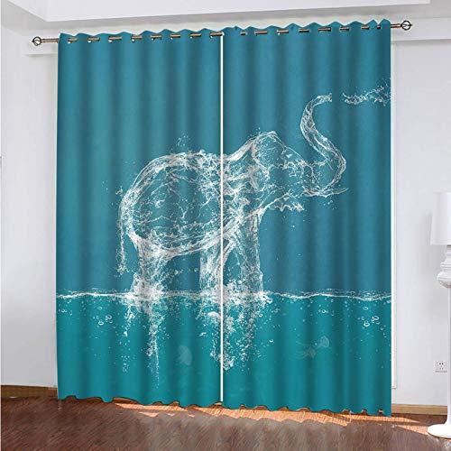 STWSXQ Cortinas Termicas Aislantes Frio Y Calor con Ojales 2 Piezas Cortinas Opacas para Ventanas Salon Dormitorio Infantil 3D Elefante Animal Abstracto Patrón Decoración Hogar 150X270cm(An X