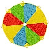 Paracaídas de Color Arcoiris de 6 pies Con 8 asas - Actividad en interiores y exteriores, juego de fiesta, actividad grupo