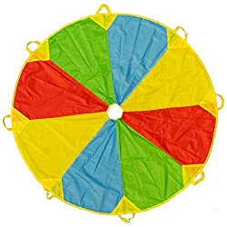 Guaranteed fun - Our brightly coloured parachutes are a great hit at parties as games & entertainment, where kids will have a blast waving them around, forming merry go rounds or building tents, encouraging imagination & ideas. Various uses - The par...