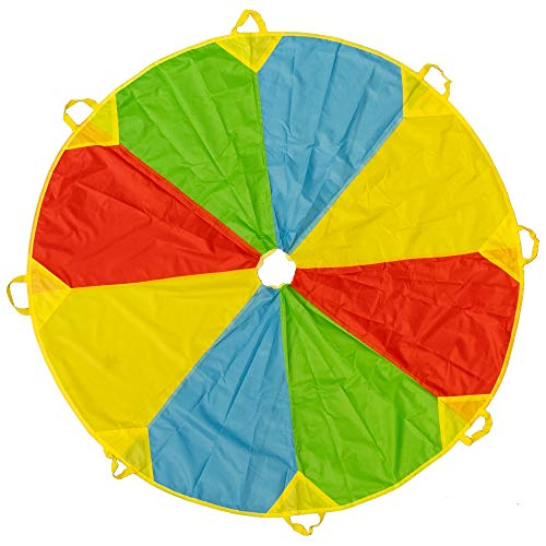 Paracaídas de Color Arcoiris de 6 pies - Con 8 asas - Horas de diversión y entretenimiento para niños y bebés pequeños - Actividad en interiores y exteriores, juego de fiesta, actividad grupo