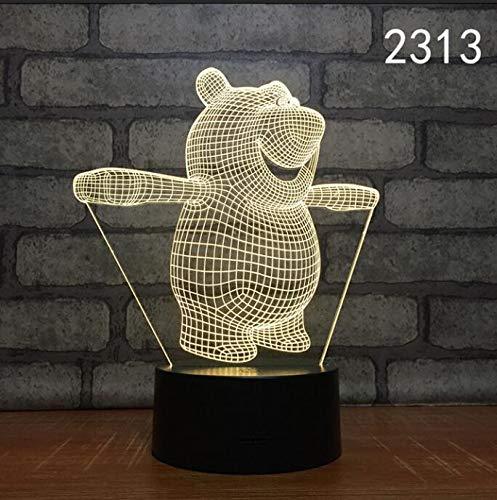 Niedliche Tierform Acryl LED Talbe Tischlampe 3D Nachtlicht KindergeschenkSchlafende Beleuchtung Dekoration Cartoon Kindergeschenk Lustiger Bär