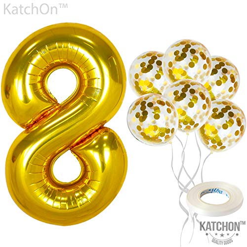 KatchOn Number 8 and Gold Confetti Balloons - Large, 40 Inch Foiil Gold Balloons | 5 Gold Confetti Balloons, 12 Inch | 8th Birthday Party Decorations | Party Supplies for Anniversary Décor
