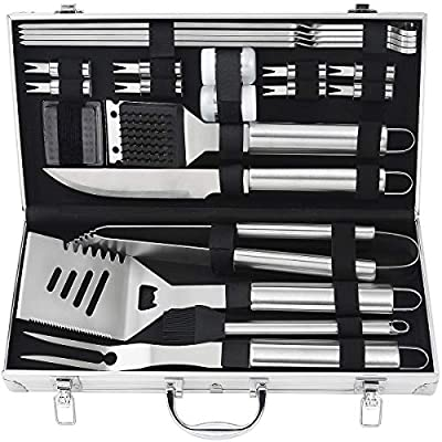 POLIGO 22pcs Barbecue Grill Utensils Kit Stainless Steel BBQ Grill Tools Set - Camping Grill Accessories in Aluminum Case for Christmas Birthday Presents - Ideal Outdoor Grilling Gifts Set for Dad Men by POLIGO