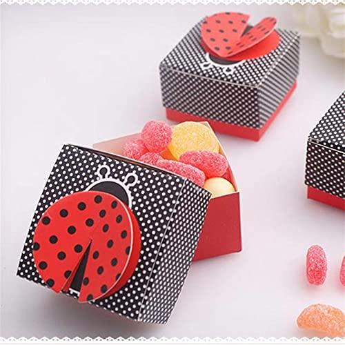 Estilo destacado Fiesta festiva Decoración de la boda 10pcs 3D Wing Wing Ladybug Cajas de regalo Boda Baby Shower Favor Favor de Caja Caja de caramelo Caja de envasado de chocolate para Favor de event