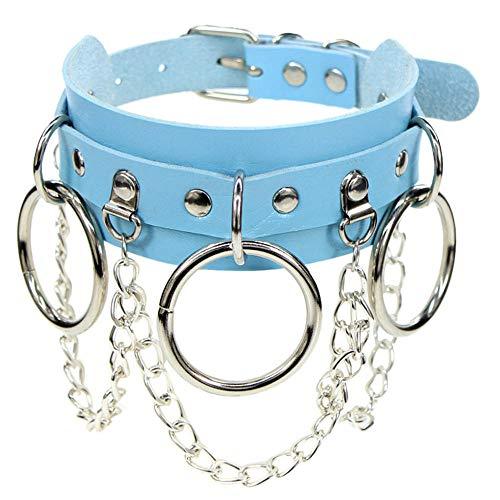 HNJing - Collar gótico con cuello gótico, estilo rock, punk, vintage, collar con colgante de corazón, azul