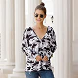 Women's Leopard Printed Cardigans Long Sleeve Cover Up,Casual V Neck Long Sleeve Tunic Tee (Color : Grey, Size : Large)