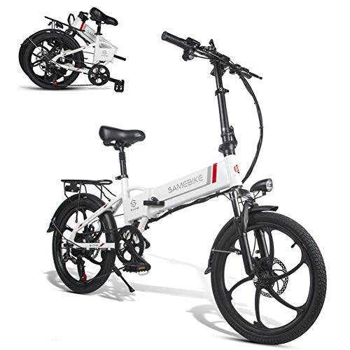 TypeBuilt E-Bike Elektrofahrrad, Faltrad E-Bike 20 Zoll Elektrofahrrad Klappfahrrad 48V 8Ah Lithium-Batterie,Elektrofahrrad Leicht Und Praktisch 7-Gang Getriebe,Klapprad,Weiß