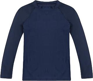 Boys' Long Sleeve Rashguard Swimwear Rash Guard Athletic Tops Swim Shirt Upf 50+ Sun Protection, Navy, 12t
