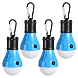 LED Camping Lights [4 Pack] Doukey Portable LED Tent Lanterns 4 Modes for Backpacking Camping Hiking Fishing Emergency Light Battery Powered Lamp for Outdoor and Indoor (Blue)
