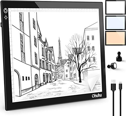 A4 Light Board Ohuhu Portable Tracing Light Box with 3 Colors Light Ultra-Thin Portable Tracer White LED Magnetic Light Drawing Board DIY Diamond Painting Artists Drawing Sketching