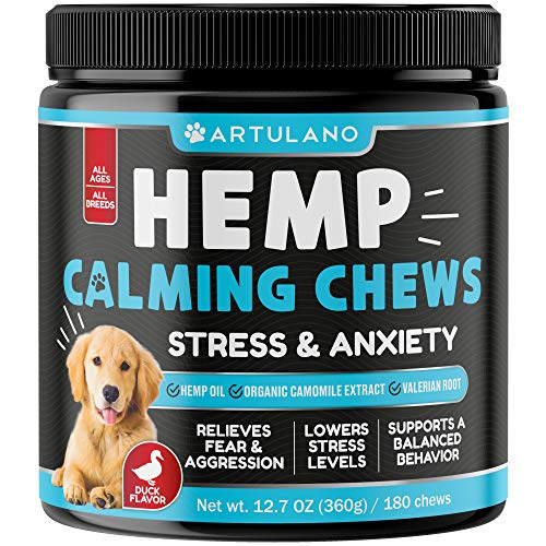 Hemp Calming Treats for Dogs - Made in Usa - 180 Soft Dog Calming Treats - Aids Stress, Anxiety, Storms, Barking, Separation and More - Valerian Root,...
