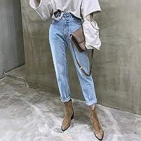 緩い ヴィンテージハイウエストの女性ストリートルース女性デニムジーンズのボタンジッパーレディースジーンズのためのストレートジーンズパンツ 快適 (Color : Light blue, Size : L)