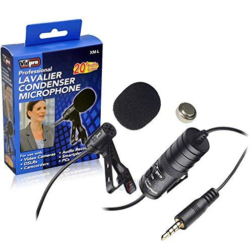 of vidpro wireless mics Vidpro XM-L Wired Lavalier microphone - 20' Audio Cable - Transducer type: Electret Condenser FOR Canon VIXIA HF R500 Camcorder