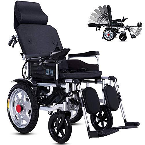 Silla de ruedas eléctrica plegable ligera para personas mayores que mienten completamente Silla ajustable (90 ° -180 °) Automática Aleación de aluminio Scooter de 4 ruedas Batería de litio,Negro,20A
