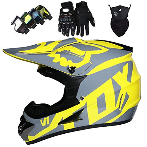 Motorradhelm Kinder Integralhelm Motocross Helme Set mit Downhill Brille Erwachsene...
