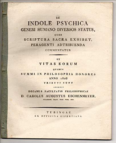 De indole psychica generi humano diversos status quos Scriptura sacra exhibet peragenti adtribuendo commentatur. Universitätsschrift.