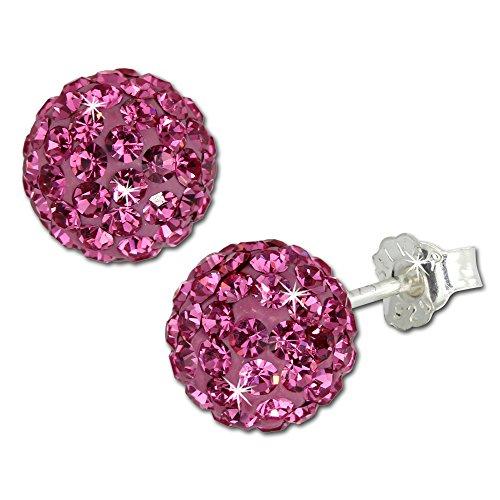 SilberDream Ohrstecker Glitzerkugel 8mm pink Preciosa Zirkonias Sterling Silber 925 Ohrring GSO2808P