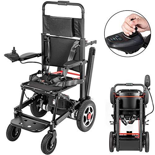 ZYFWBDZ Elektrorollstuhl Motorisiert Klappbarer Elektrorollstuhl, Leistungsstarker Motor Elektrischer Rollstuhl Treppenlift Klettern mit 24V 18AH Batterie,Schwarz