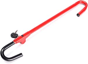 Anti-Theft Car Steering Wheel Lock Device Brake Pedal/Steering Adjustable Length Steel Locking Bar Antitheft Locking Devices Red (Color : Red, Size : 27.951.81inchs)