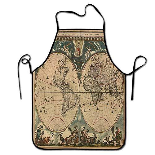 Not Applicable Delantal Vintage Lindo Mapa Antiguo con Fecha del Mundo Antiguo Tema de geografía histórica Diseño Sucio Antiguo Imprimir Delantal Artista Multicolor