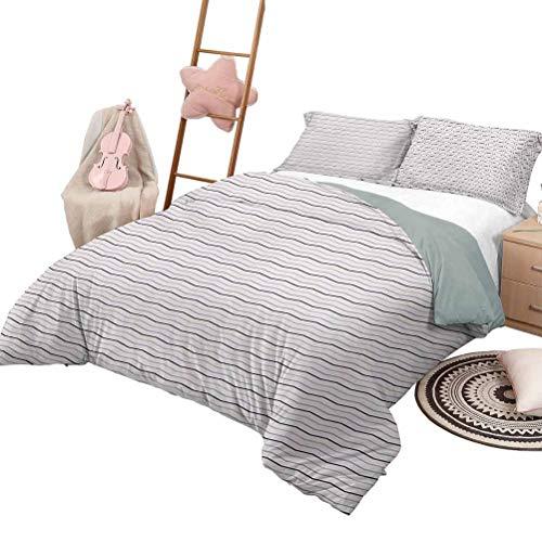 Juego de ropa de cama de edredón, color morado, colchas de 3 piezas, colcha larga en zigzag, vintage, imagen detallada en tonos rosados, diseño moderno, tamaño queen, rosa pálido, morado y lila