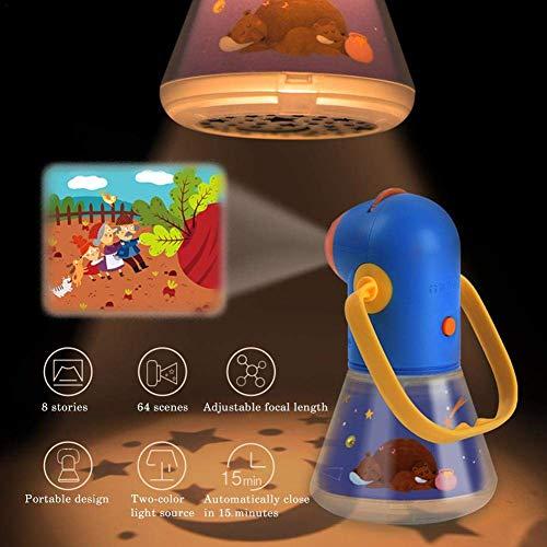 3 en 1 Proyector Cuentos Infantil, Linterna Night Light Lamp Sleeping Light Baby con 8 Nighttime Bedtime Story Juguete educativo multifunción regalo para niño niña