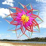 AYLS Las Cometas tridimensionales, Las Cometas Grandes para Adultos de Lotus Snow, un Modelo Colorido, Las Cometas portátiles de la Playa del Parque, 140 * 140 cm