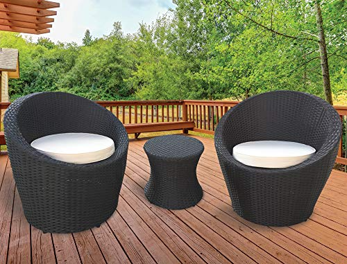 KEPLIN 3pc Rattan Garden Furniture Set, Patio, Inside Conservatory, Outdoor set 1x Table 2x Chair, Stackable, Easy to Store (OVAL - DGREY)