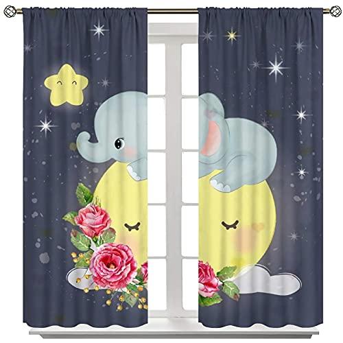 MRFSY Cortina con diseño de elefante, diseño de elefante, para guardería, habitación infantil, 2 paneles de 214 x 214 cm
